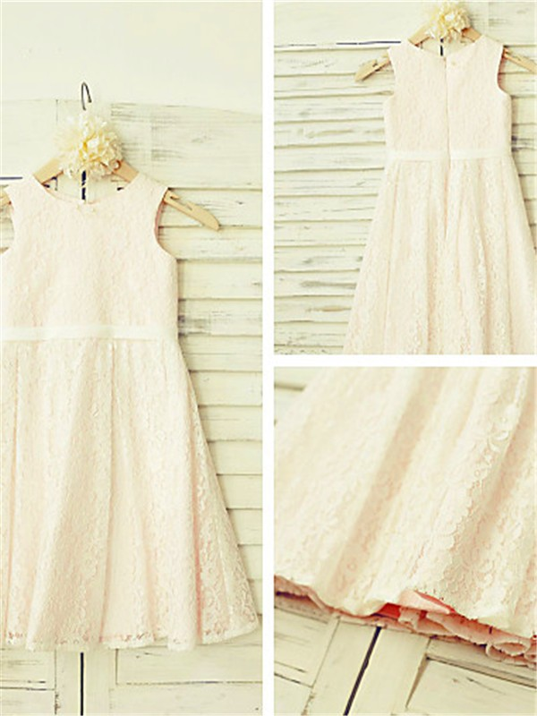 Pearl Pink Lace Jewel A-line/Princess Floor-Length Flower Girl Dresses