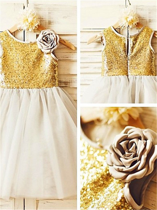 Gold Tulle Scoop A-line/Princess Tea-Length Flower Girl Dresses