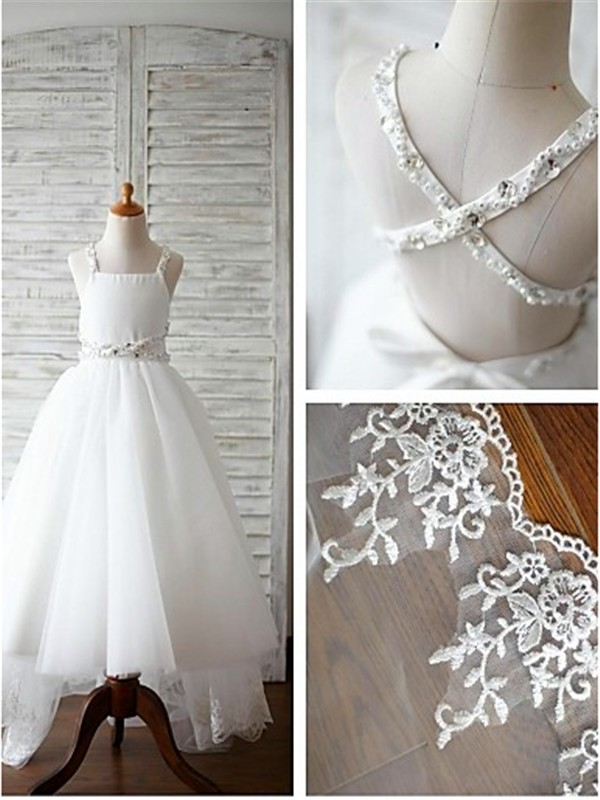White Tulle Spaghetti Straps A-line/Princess Sweep/Brush Train Flower Girl Dresses