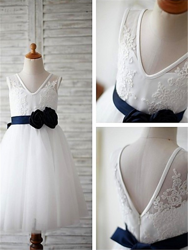 White Tulle V-neck A-line/Princess Tea-Length Flower Girl Dresses
