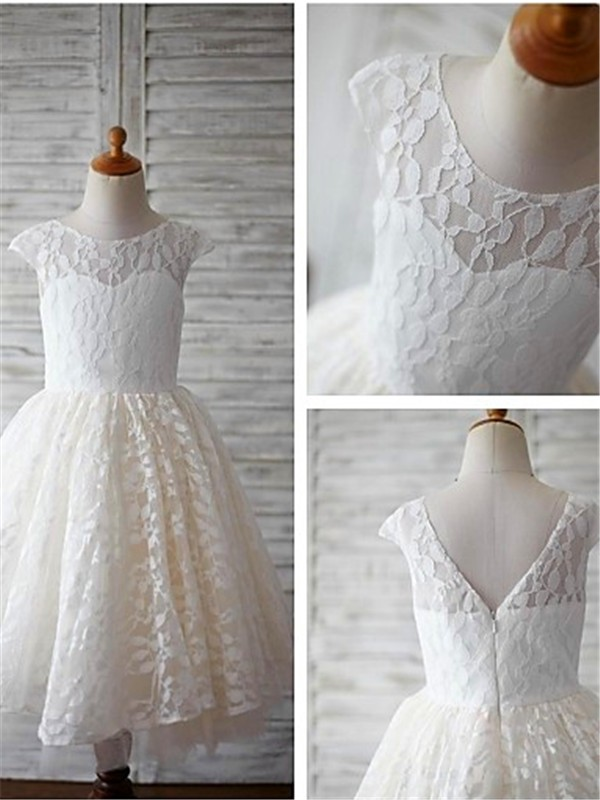 Ivory Lace Scoop A-line/Princess Tea-Length Flower Girl Dresses