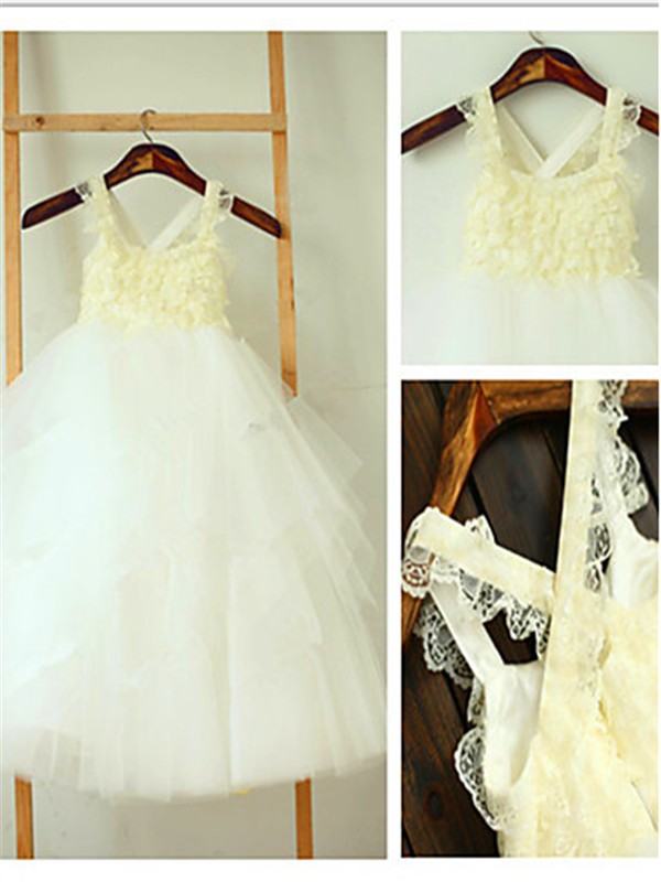 Ivory Tulle Square Ball Gown Tea-Length Flower Girl Dresses
