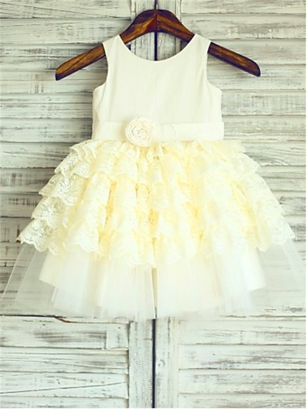 Gold Lace Scoop Ball Gown Tea-Length Flower Girl Dresses