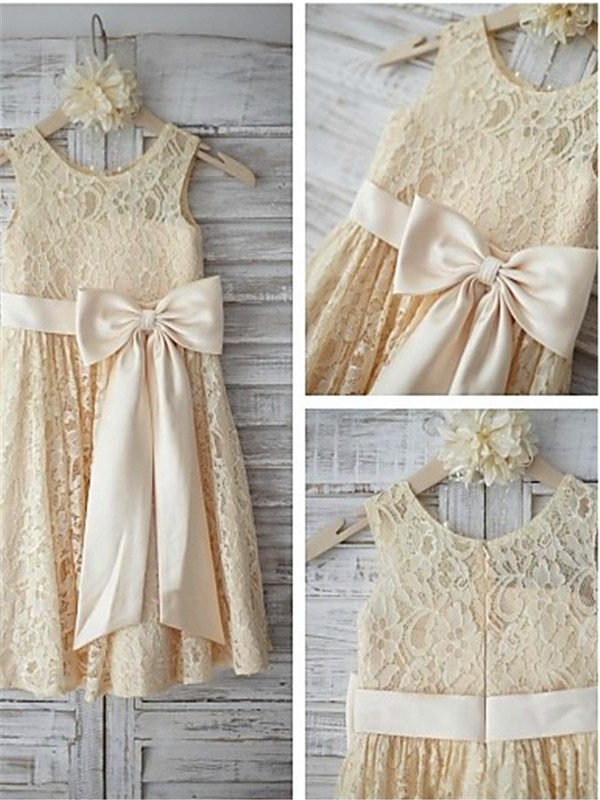 Champagne Lace Scoop A-line/Princess Floor-Length Flower Girl Dresses