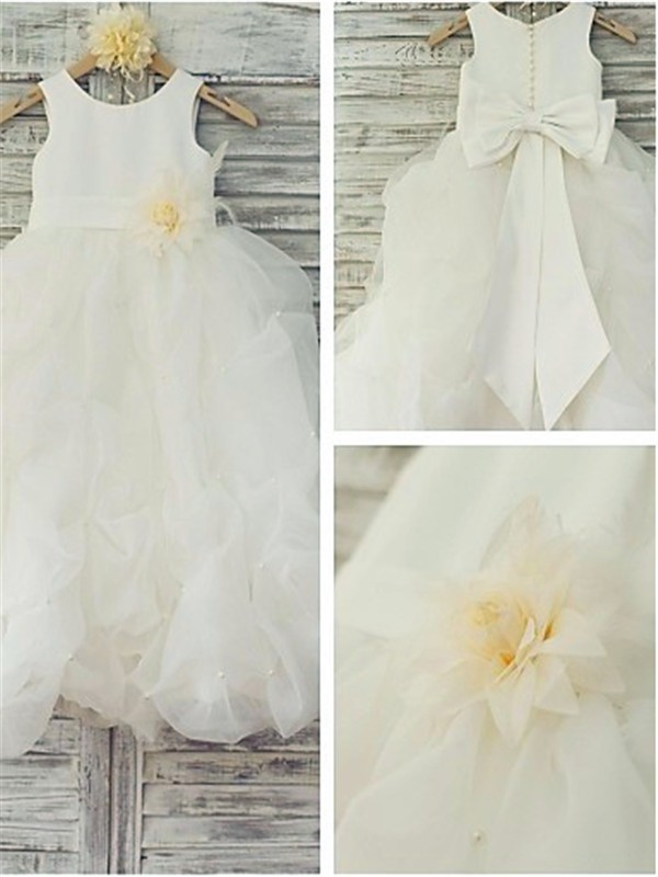 White Organza Scoop Ball Gown Floor-Length Flower Girl Dresses