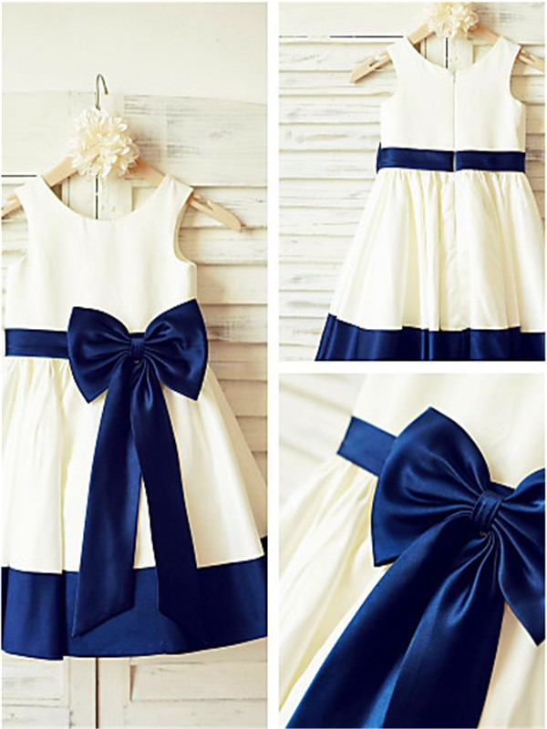Dark Navy Satin Scoop A-line/Princess Tea-Length Flower Girl Dresses