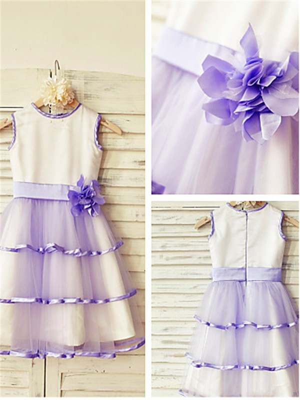 Lilac Tulle Scoop A-line/Princess Tea-Length Flower Girl Dresses