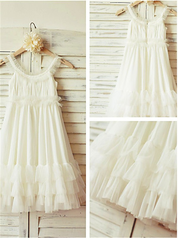 White Chiffon Straps A-line/Princess Floor-Length Flower Girl Dresses