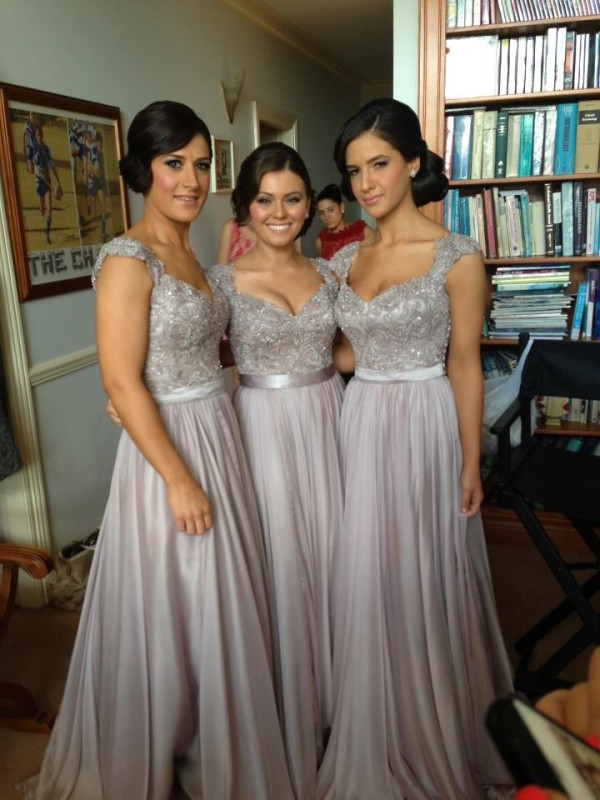 Silver Chiffon V-neck Sheath/Column Floor-Length Bridesmaid Dresses