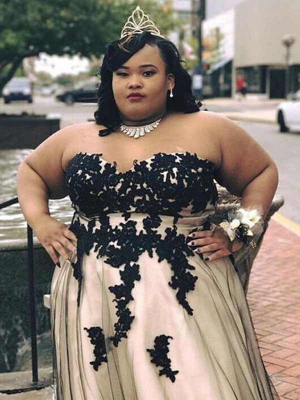 Champagne Tulle Sweetheart A-Line/Princess Floor-Length Plus Size Dresses