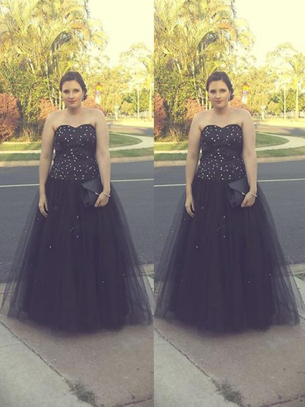 Black Tulle Sweetheart Ball Gown Floor-Length Plus Size Dresses