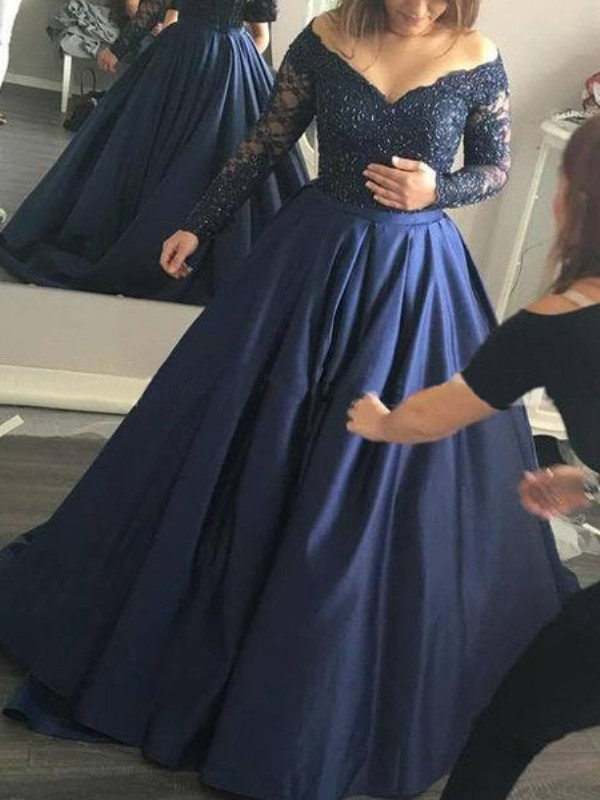 Dark Navy Satin Off-the-Shoulder Ball Gown Sweep/Brush Train Prom Dresses