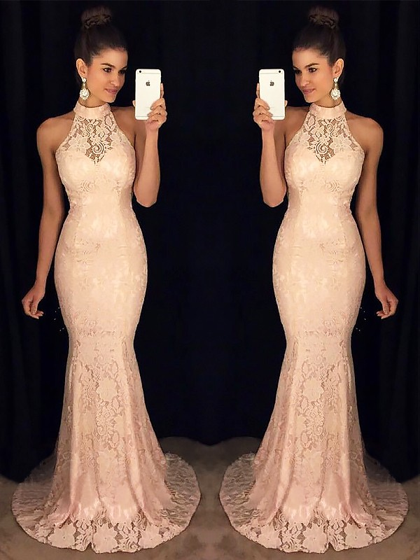 Pink Lace High Neck Trumpet/Mermaid Sweep/Brush Train Dresses