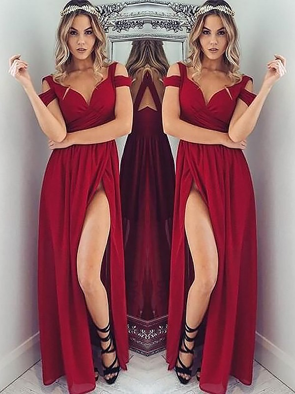 Burgundy Chiffon Off-the-Shoulder A-Line/Princess Floor-Length Dresses