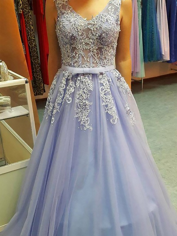 Lavender Tulle V-neck A-Line/Princess Floor-Length Dresses