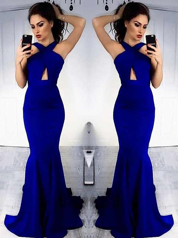 Royal Blue Satin Halter Sheath/Column Sweep/Brush Train Dresses