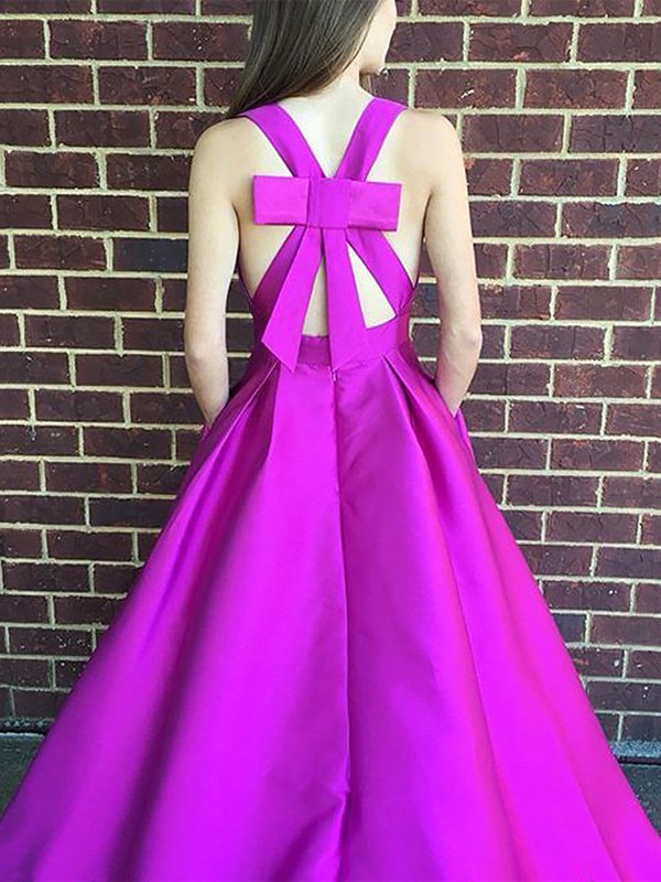 Fuchsia Satin V-neck A-Line/Princess Sweep/Brush Train Dresses