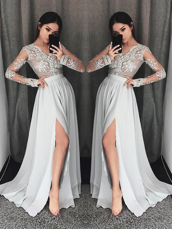 Grey Chiffon V-neck A-Line/Princess Sweep/Brush Train Dresses