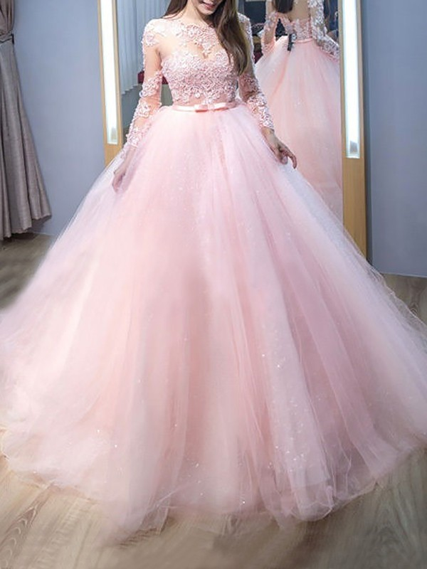Pink Tulle Jewel Ball Gown Sweep/Brush Train Dresses