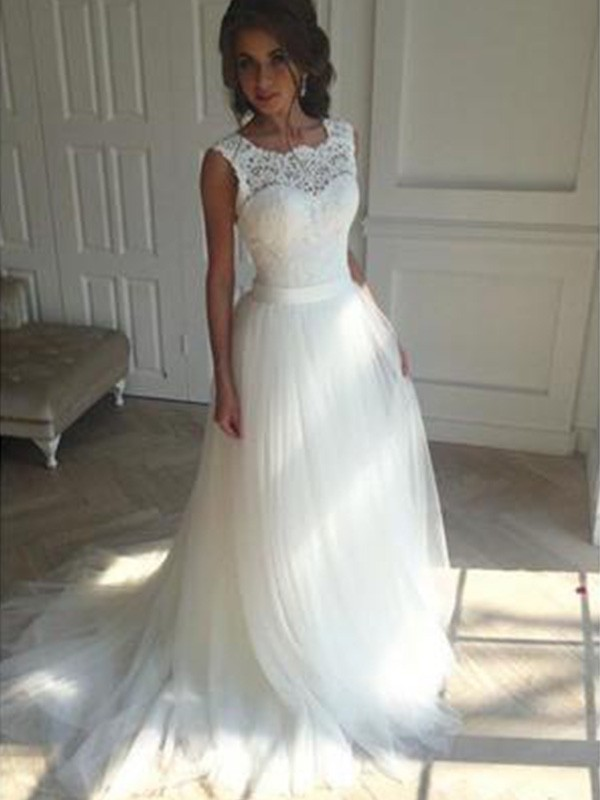 Ivory Tulle Square A-Line/Princess Court Train Wedding Dresses