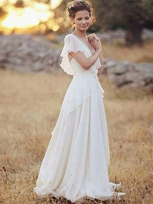 White Chiffon V-neck A-Line/Princess Floor-Length Wedding Dresses