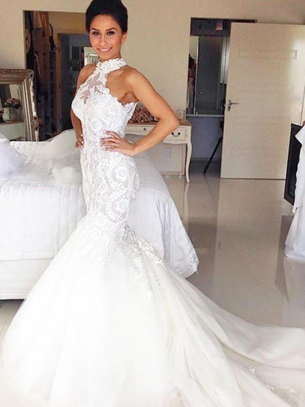 White Tulle Halter Trumpet/Mermaid Court Train Wedding Dresses