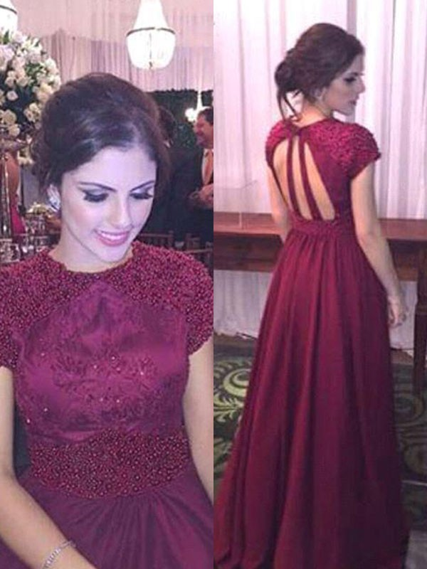 Burgundy Satin Sheer Neck A-Line/Princess Floor-Length Dresses