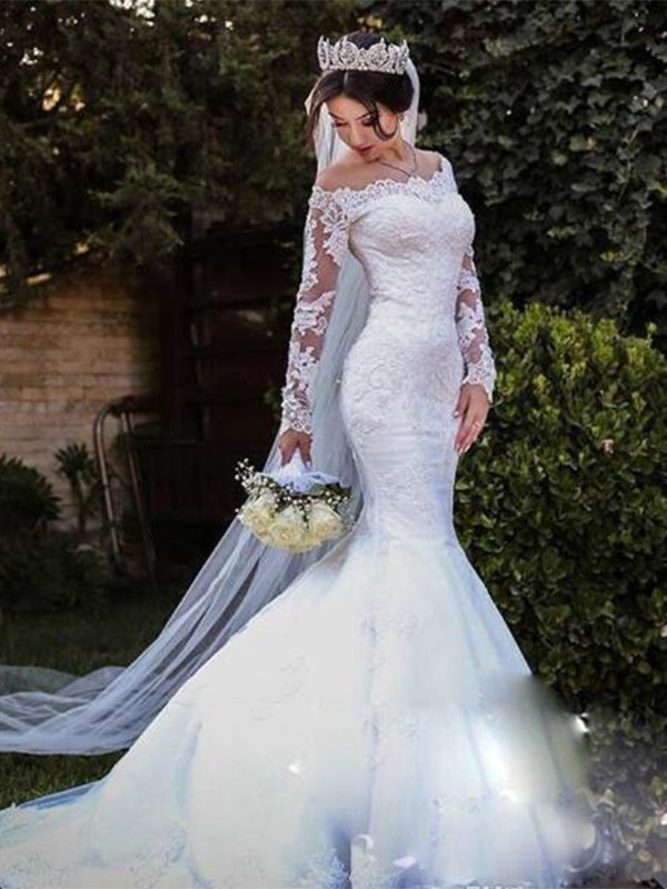 White Tulle Off-the-Shoulder Trumpet/Mermaid Sweep/Brush Train Wedding Dresses
