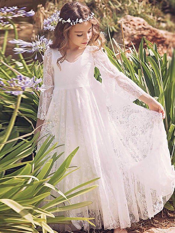 White Lace V-neck A-Line/Princess Floor-Length Flower Girl Dresses