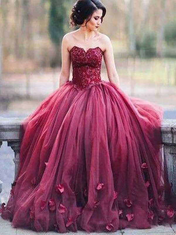 Burgundy Tulle Sweetheart Ball Gown Floor-Length Dresses