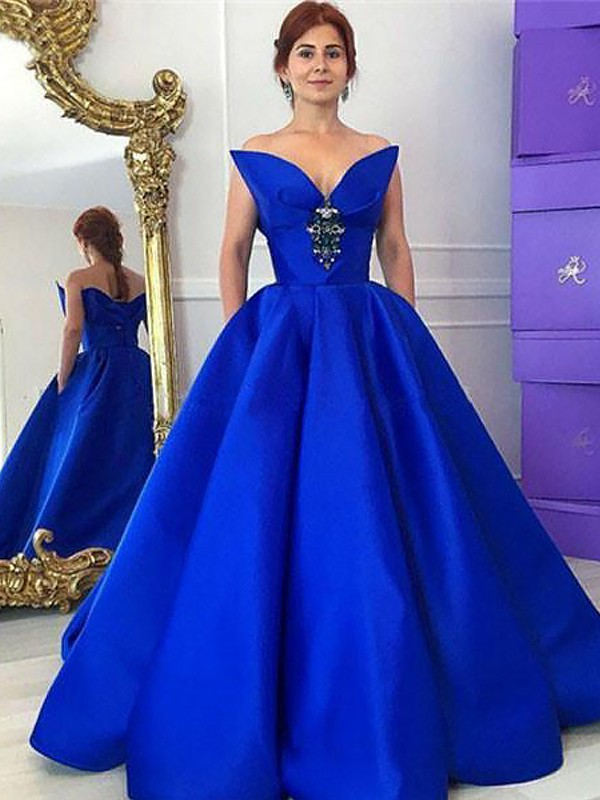 Royal Blue Satin V-neck Ball Gown Floor-Length Dresses