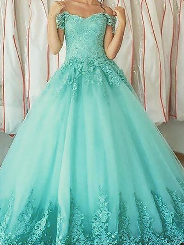 Green Tulle Off-the-Shoulder Ball Gown Floor-Length Dresses