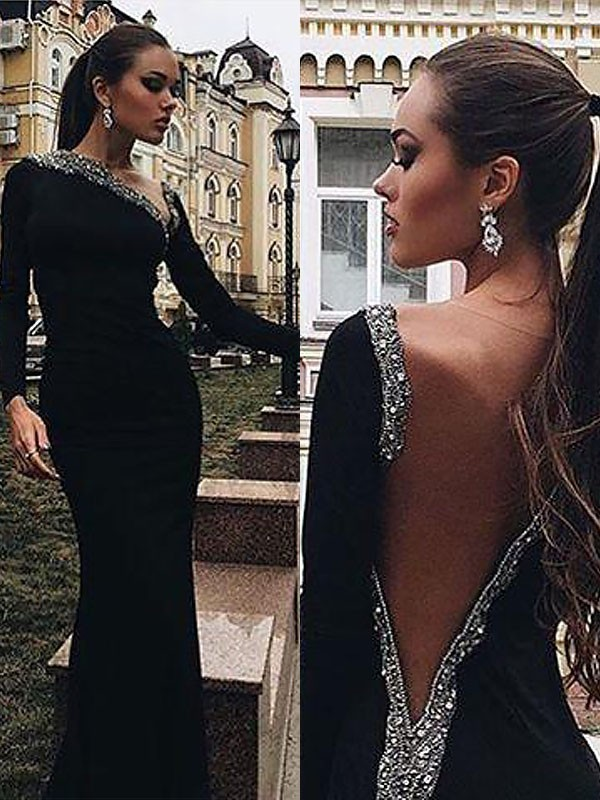 Black Spandex One-Shoulder Trumpet/Mermaid Floor-Length Dresses