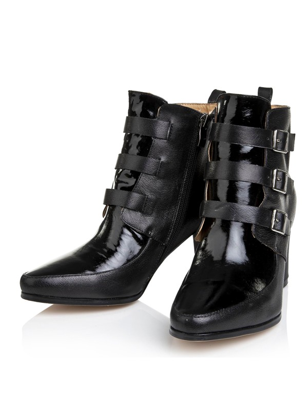 Bonnyin Black Thick Heel Cattlehide Leather Boots