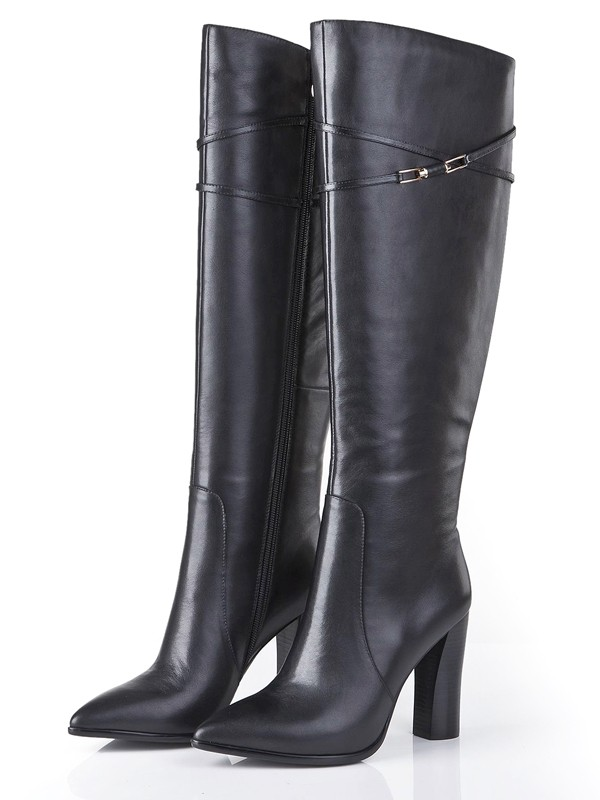 Bonnyin Black Thick Heel Cattlehide Leather Pointed Toe Boots