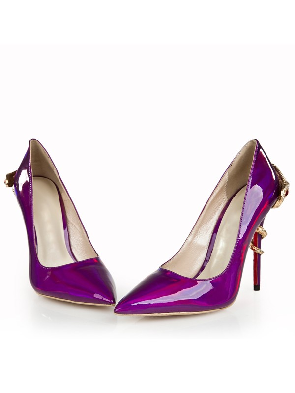 Bonnyin Patent Leather Pointed Toe High Heels