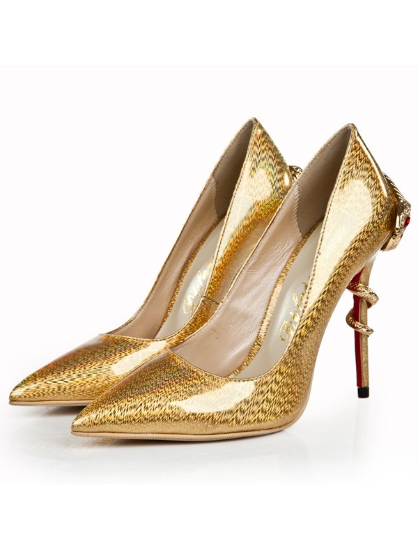 Bonnyin Gold Patent Leather Pointed Toe High Heels