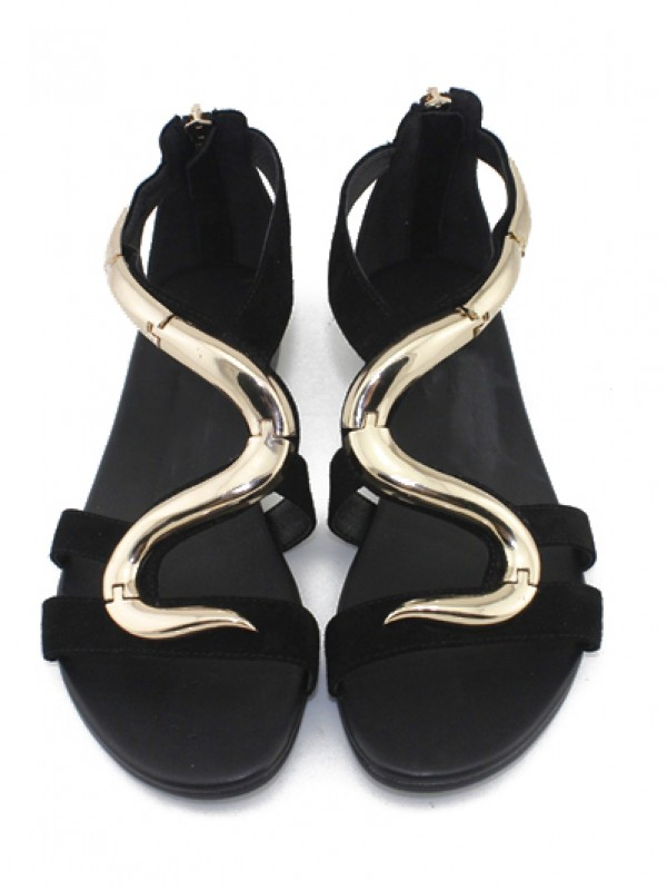 Bonnyin Black S-shaped Suede Flat Sandals