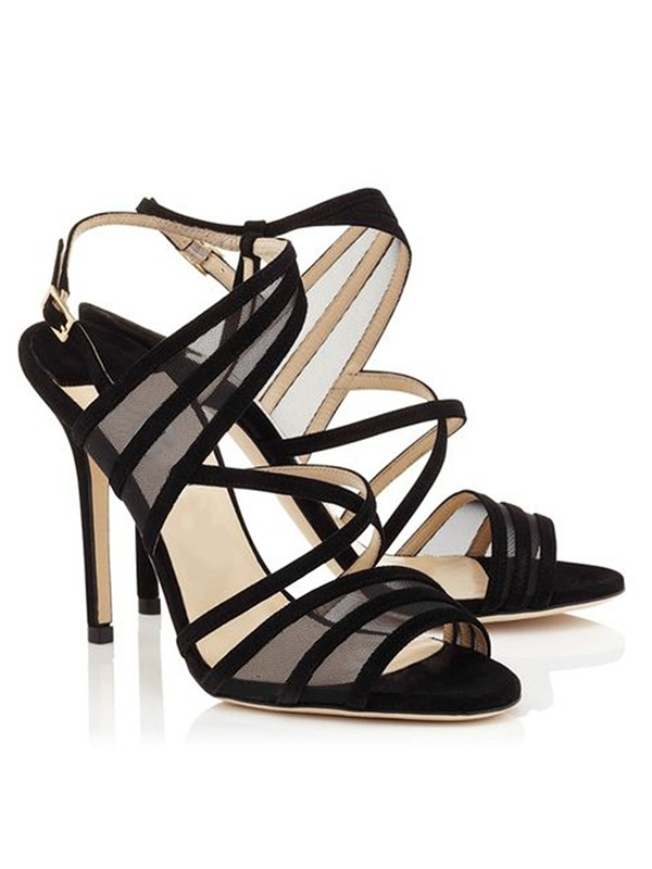 Bonnyin Black Suede Net Satin High Heel Sandals