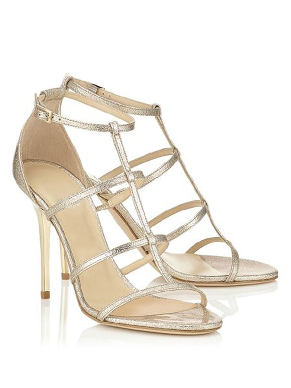 Bonnyin Gold Peep Toe Sheepskin High Heel Sandals