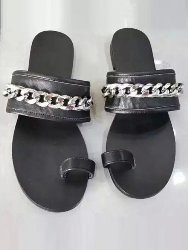 Bonnyin Black Sheepskin Chain Flat Sandals
