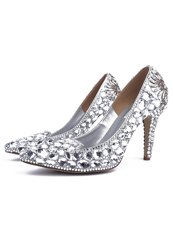 Bonnyin Silver Patent Leather Glass Drill Pointed Toe Shoes