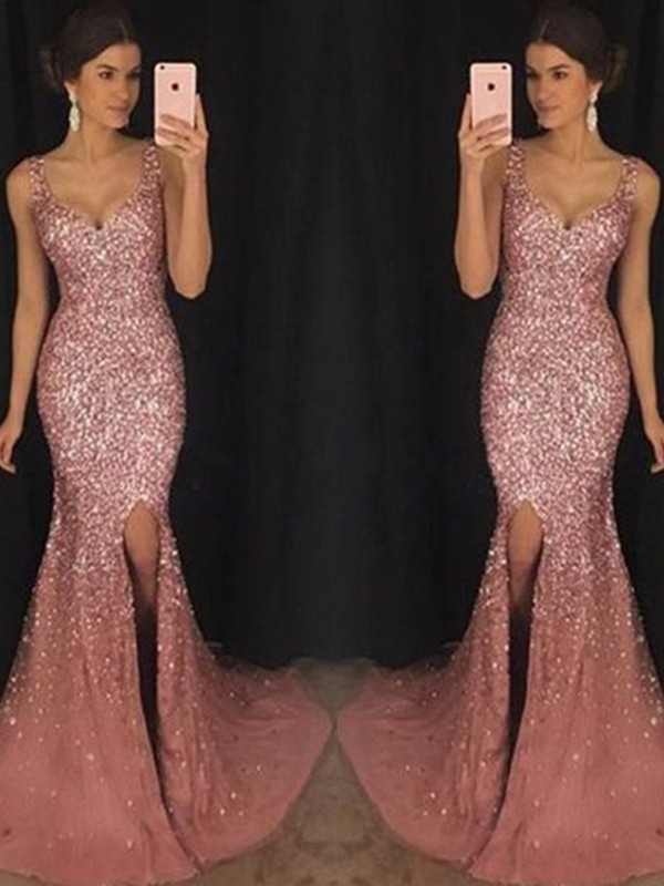 Pink Tulle Sweetheart Sheath/Column Sweep/Brush Train Dresses