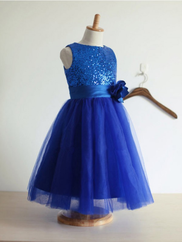 Royal Blue Tulle Jewel A-Line/Princess Tea-Length Flower Girl Dresses