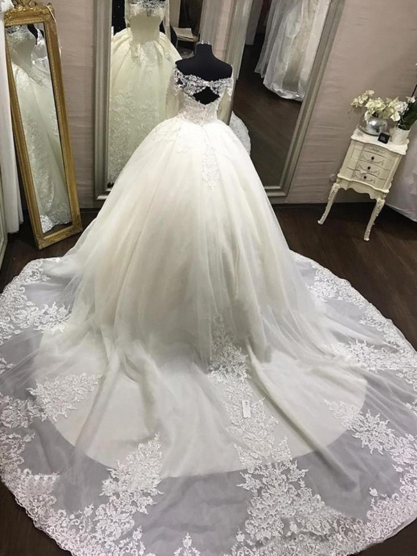 Ivory Tulle Off-the-Shoulder Ball Gown Cathedral Train Wedding ...