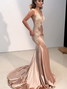 Champagne Silk like Satin Straps Trumpet/Mermaid Sweep/Brush Train Dresses