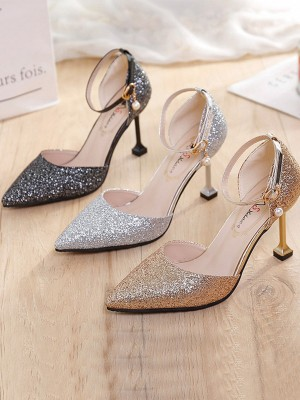 Women Stiletto Heel Closed Toe Sparkling Glitter High Heels