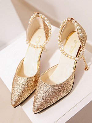 Women Pearl Stiletto Heel Closed Toe High Heels