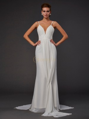 White Chiffon V-neck Trumpet/Mermaid Floor-Length Dresses