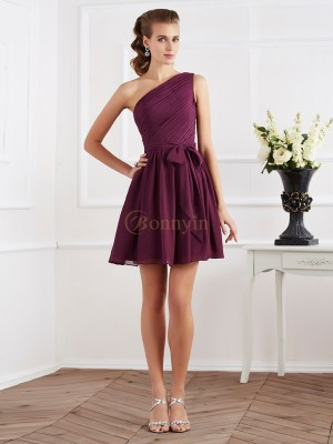 Regency Chiffon One-Shoulder A-Line/Princess Short/Mini Dresses